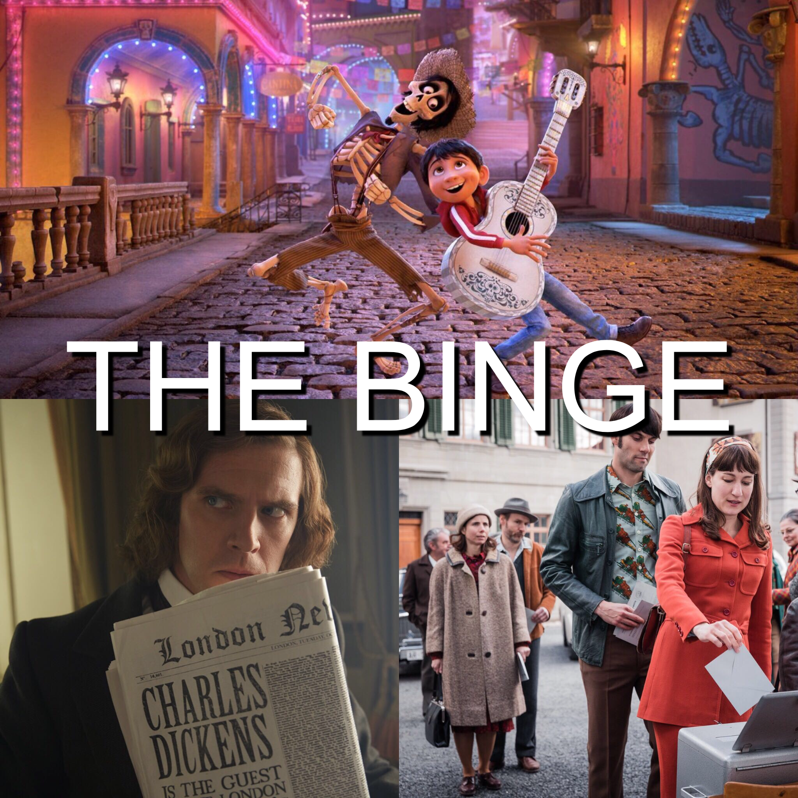 The Man Who Invented Christmas Poster.The Binge Movie Podcast Coco The Man Who Invented